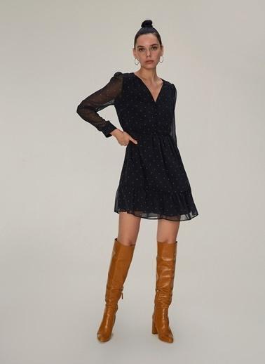 NGSTYLE Volan Detaylı Elbise Siyah